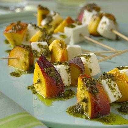 Mozzarella and Nectarine Skewers With Pesto Recipe - Health Mobile