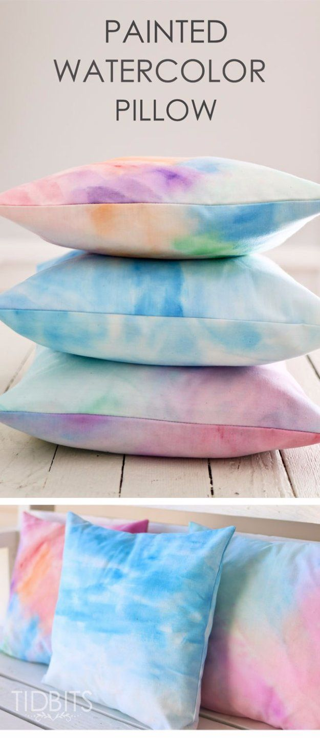 DIY Pillows and Creative Pillow Projects - Painted Watercolor Pillow With An Envelope Closure - Decorative Cases and Covers, Throw Pillows, Cute and Easy Tutorials for Making Crafty Home Decor - Sewing Tutorials and No Sew Ideas