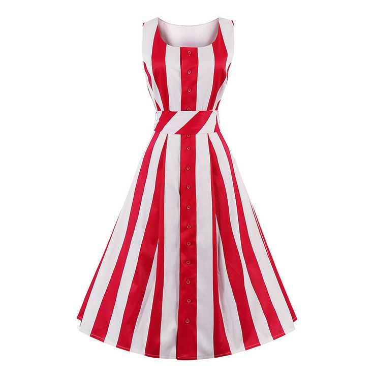 >> Click to Buy << 1950s Sexy Vintage Women Dresses 2017 Summer Striped Sashes Party Dress Sleeveless Mid Calf New Elegant Red Female Retro Dresses #Affiliate