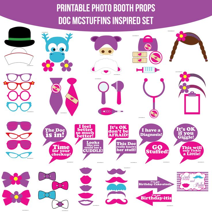 Instant Download Doc McStuffins Inspired Printable Photo Booth Prop Set — Amanda Keyt DIY Photo Booth Props & More!