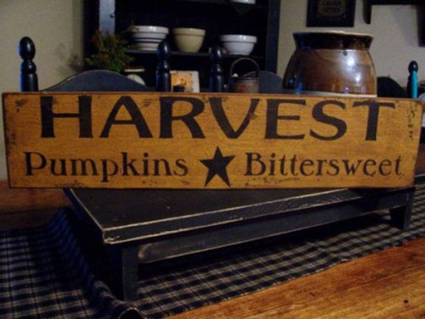 Primitive Fall Harvest Handpainted Wood Sign.