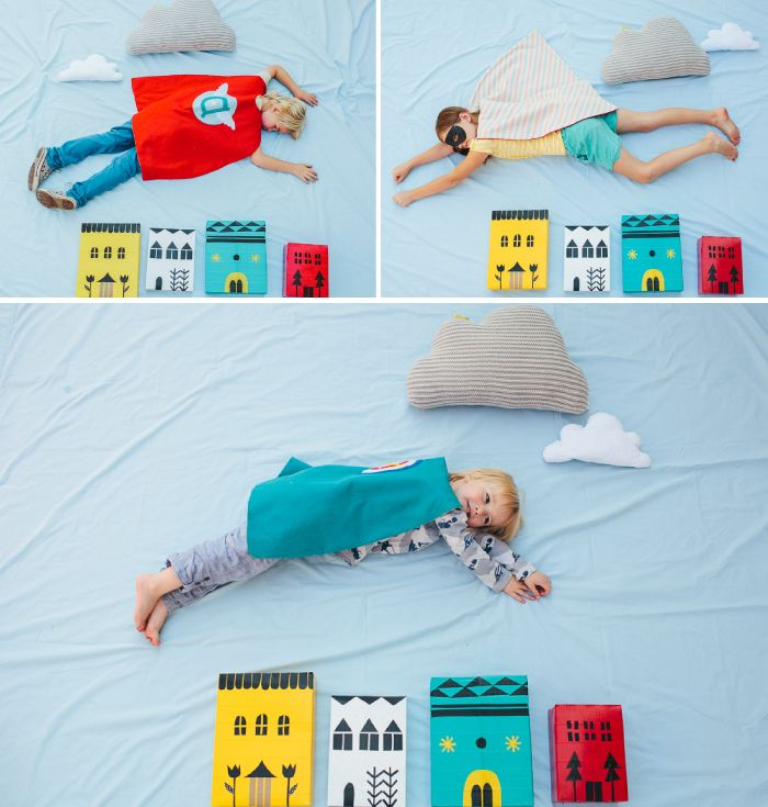 """Make a super hero """"photo booth"""" using duct tape and cereal boxes for the buildings. So clever."""