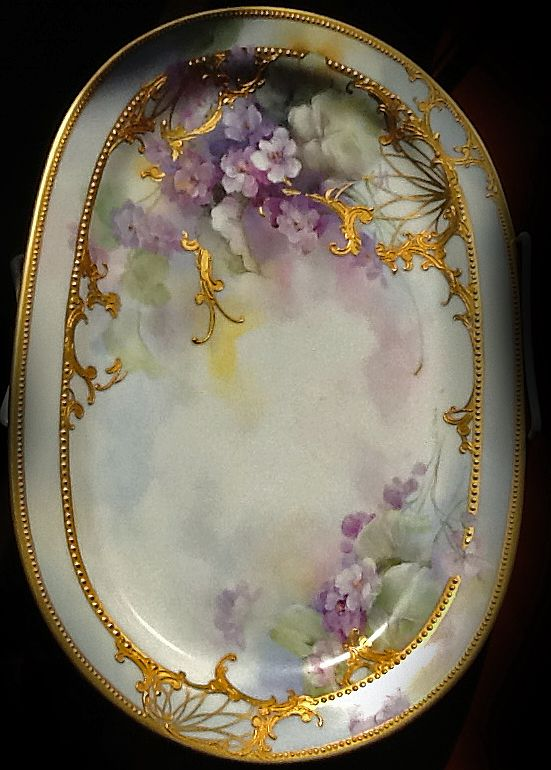 Barbara Jensen porcelain artist | Violets with gold but no raised paste.