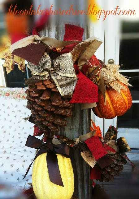 Life on Lakeshore Drive: Pine Cones & Pumpkins Fireplace Garland