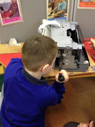 old printer - perfect for having a tinker with a screw driver #abcdoes #eyfs
