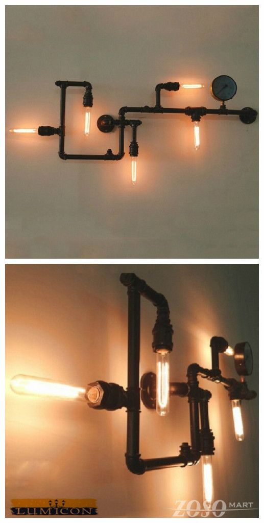 Industrial Steam Punk Pipe Wall Lights-This fixture is a piece of art that will be loved and admired by all. http://www.zosomart.com/home-living/lamps-lighting/restoration-new-sleek-industrial-vintage-wall-mount-pipe-light.html
