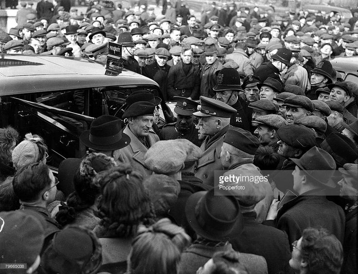 MONTY: World War II, 3rd March 1944, London, General Sir Bernard Montgomery is mobbed by London dockers after a war effort speech to them