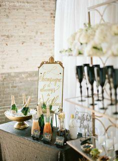 Champagne Bar Display Ideas, Vintage Art Deco Rehearsal Dinner Inspiration http://www.elegantwedding.ca
