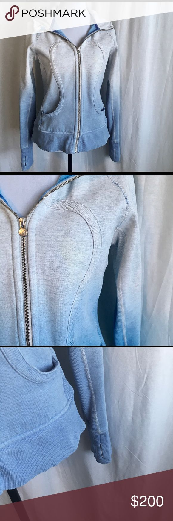 Lululemon Hombre Dyed Hoodie Great heavy hoodie. Good condition with the following flaws: Very faint yellowing on left side, see 2nd pic. Small bleach spot on bottom right and by left zipper, see 5th pic. No size dot so size is estimated. Please measure carefully. Bust Length lululemon athletica Jackets & Coats