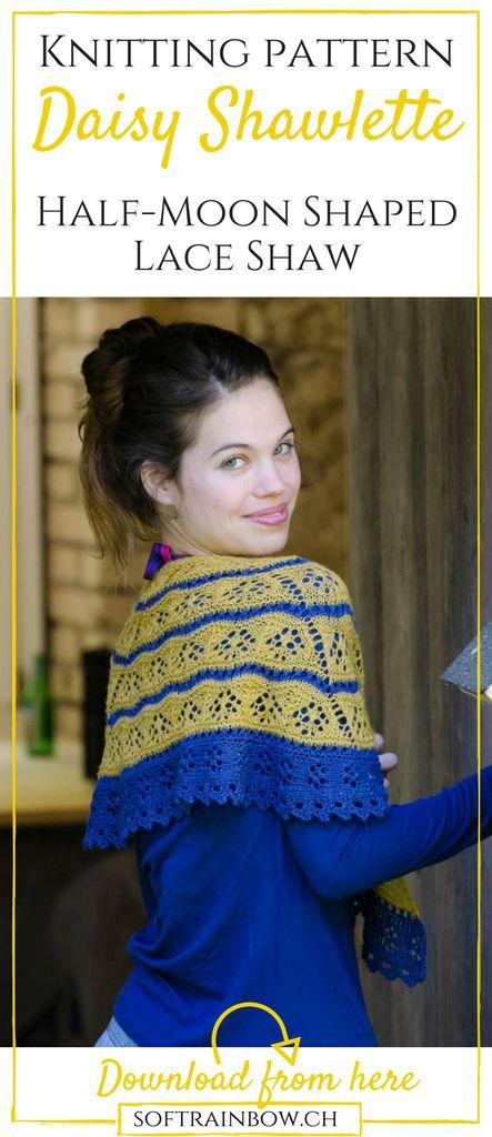Half-moon shaped   lace shawl knitting pattern