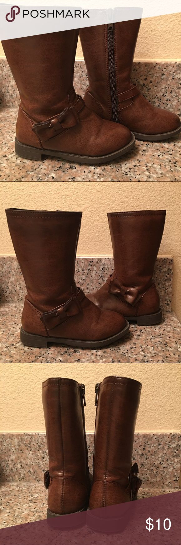 EUC BROWN BOW BOOTS Size 6 children's place brown bow boots in EUC working zipper closures. SFPF home Children's Place Shoes