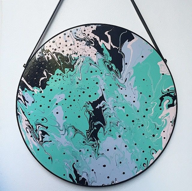 Desert Sky. Original acrylic roundie with leather strap detail.  Available now at Honey Jackson.