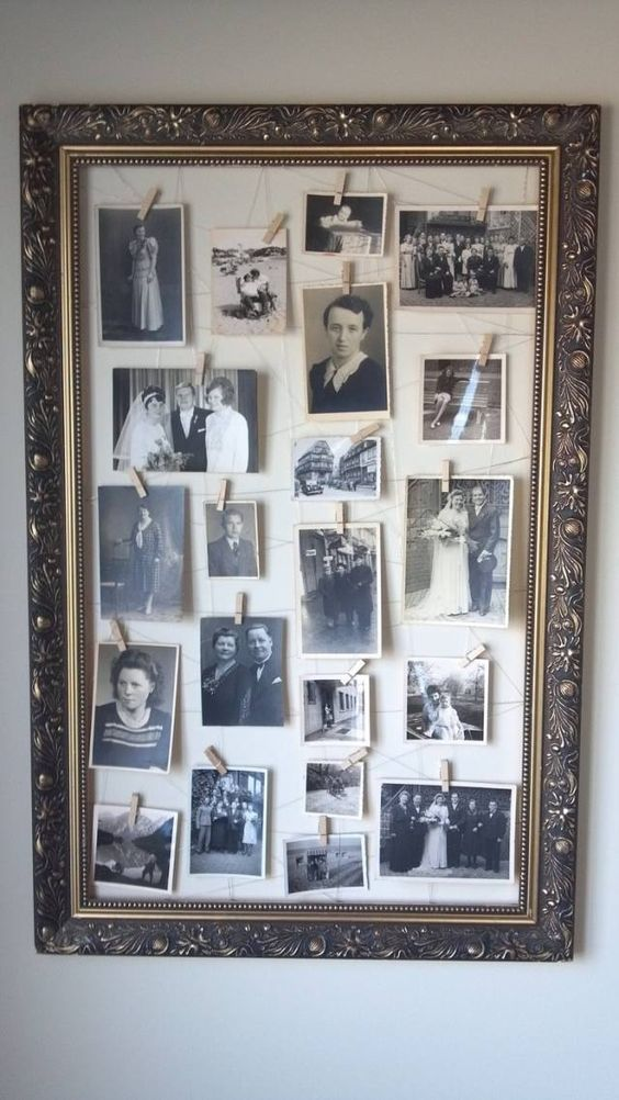 vintage deco richly decorated picture frame old family photos