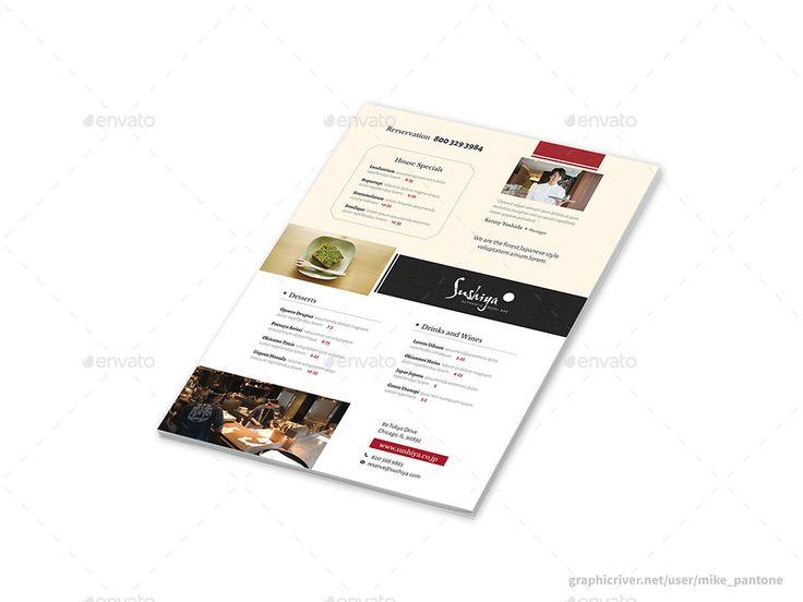 Sushi Bar Menu Flyers – 4 Options