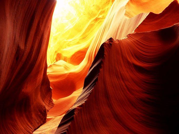 米国アリゾナ州の「アンテロープキャニオン」にて。Lower Antelope Canyon in Arizona, USA.