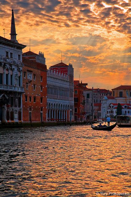 """paragondestination: """" Sunset over Grand Canal, Venice, Italy (by -yury-) """""""