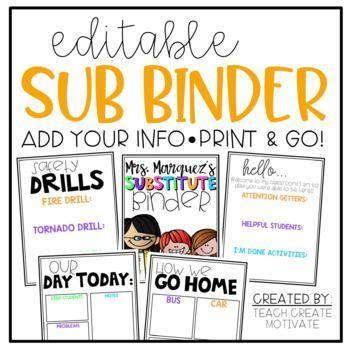 *Editable* Substitute Binder