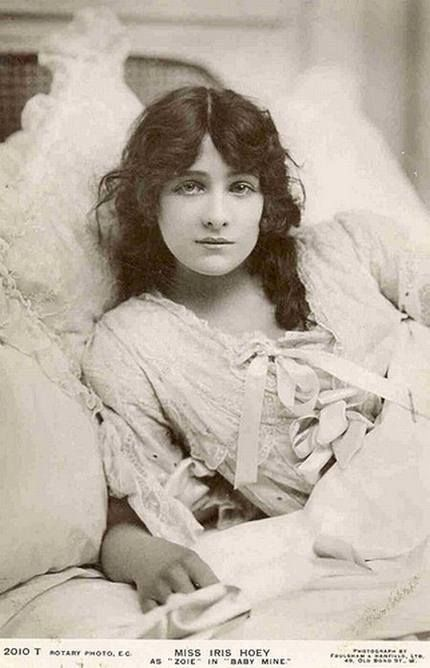 Iris Hoey, born on 7/17/1885 in London, England. Died on 5/13/79. She was a British Actress in the first half of the 20th Century, both on stage and film. She was married twice with one child!