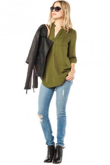 colora blouse in olive.