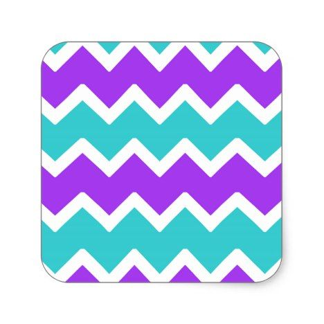 Aqua Turquoise Blue and Purple Chevron Square Sticker #chevron #craft #supplies