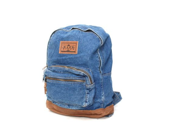 DENIM blue jean 80s 90s GRUNGE BACKPACK tan by 20twentyvintage