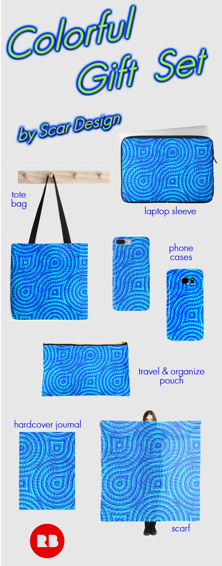 Save 20% sitewide. All original. All the time. Use: EVERYTHING20.  Colorful Gift Set by Scar Design.  #sales #redbubble #save #discount #colorful #pouch #summer #organizepouches #fashion #accessories  #travelset #travelpouch #scarf #journal #iphonecase #samsunggalaxycase #laptopsleeve #scardesign #giftsforher #designgifts #travelgifts #travel #totebag #blue #cyan #modern #giftset #gifts  #giftsforher