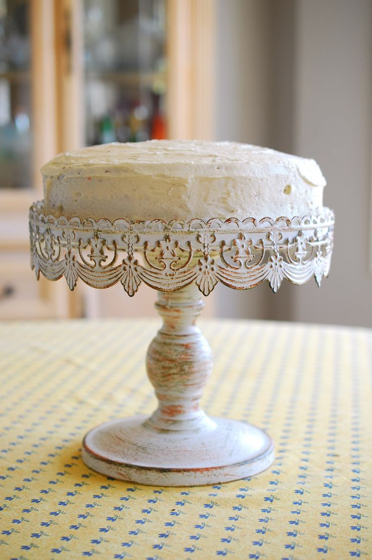 Cake stand white metal 10in beautiful lace and paint for Beautiful cake stands