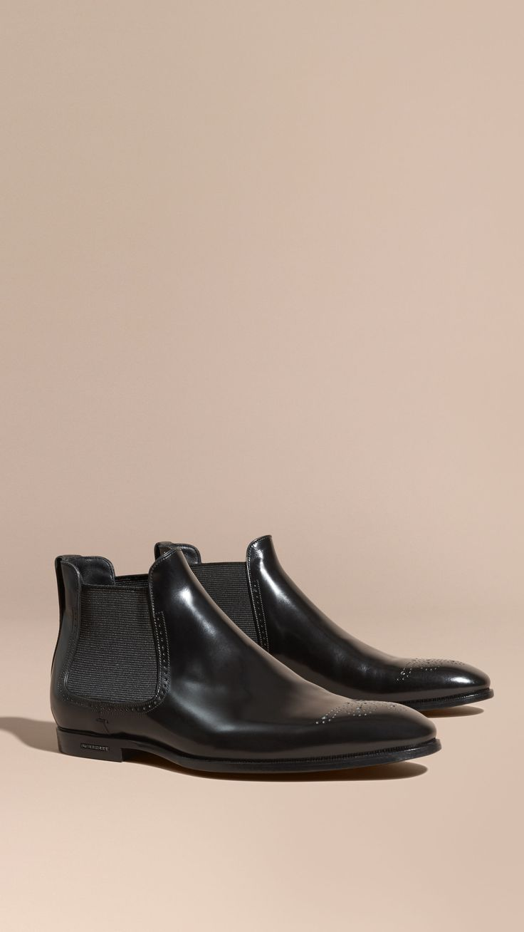 Perforated Detail Leather Chelsea Boots Black   Burberry