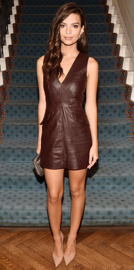 Meanwhile at the same luncheon, Emily Ratajkowski selected a mocha brown leather number that she expertly accessorized with a printed clutch and nude pumps.