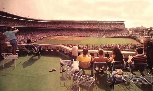 Wrigley Field rooftops, before bleachers, and Wrigley Field before lights. 1980s