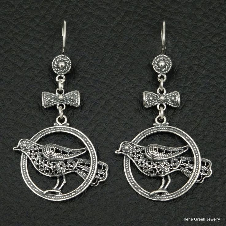 RARE LUXURY BIRD FILIGREE STYLE 925 STERLING SILVER GREEK HANDMADE ART EARRINGS #IreneGreekJewelry #DropDangle