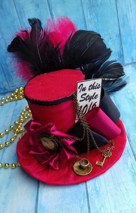 Mad Hatter hat Alice in Wonderland Woman Top hat Headband Wonderland Party  Red Black Mini top hat Fascinator Steampunk hat Centerpiece 73b5ee6ff237
