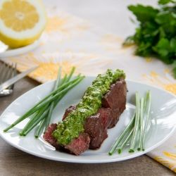 A fresh herb and citrus pesto is the perfect complement to rich, smoky grilled sirloin. Ready in 20 minutes! #foodgawker