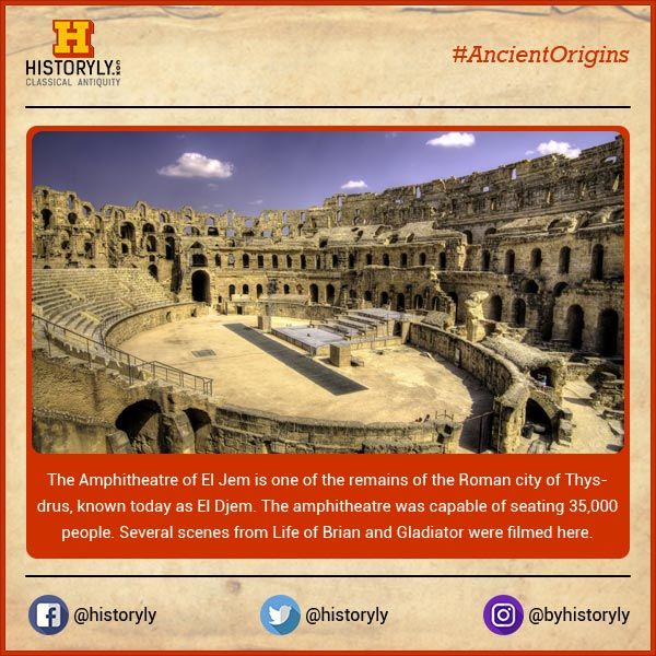 #AncientOrigins Amphitheatre of El Jem is an oval amphitheatre in the city of El Djem, Tunisia. It is listed by UNESCO since 1979 as a World Heritage Site. #History #Ancient #Archaeology