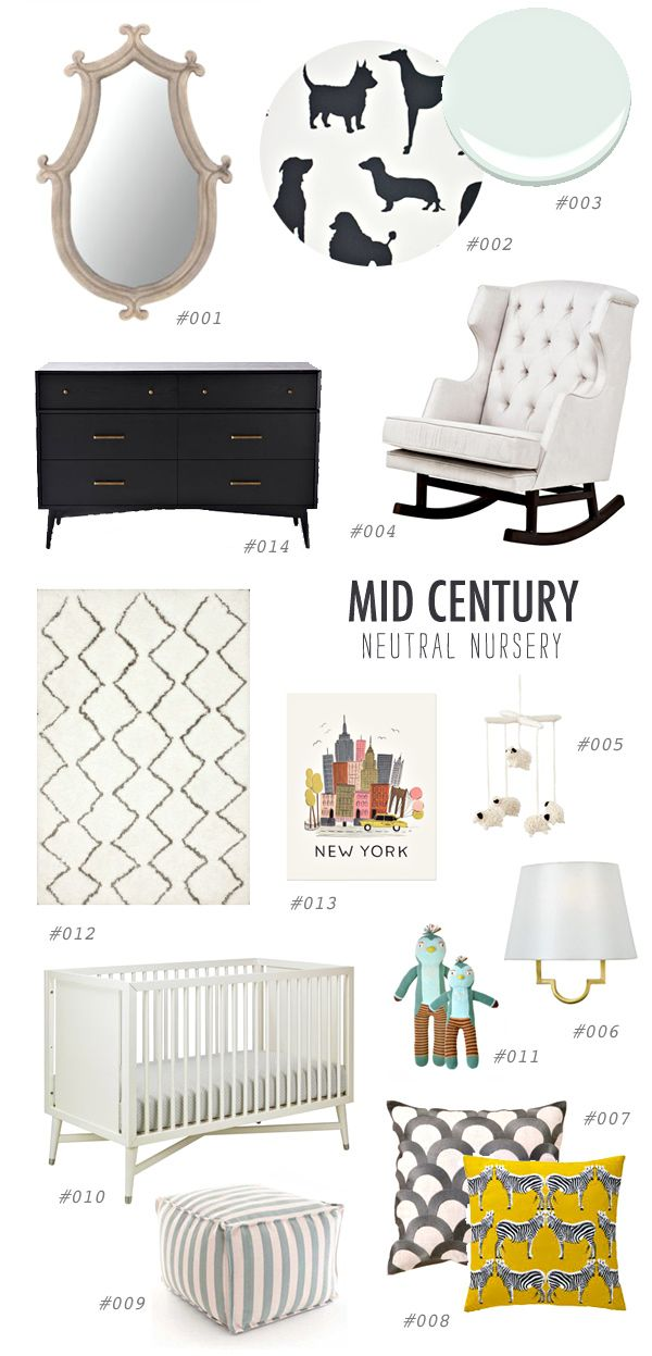MCM nursery buying guide, http://ruffledblog.com/gender-neutral-nursery-inspiration #neutral #midcentury #nursery