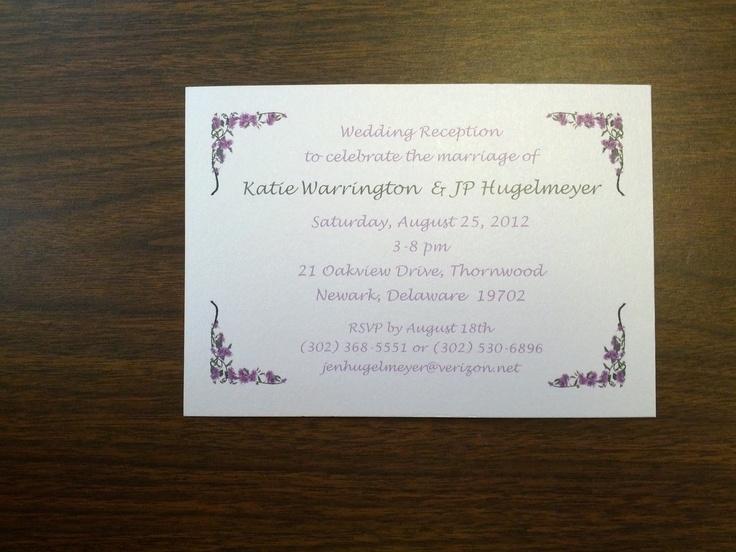 Informal Wedding Reception Invitation