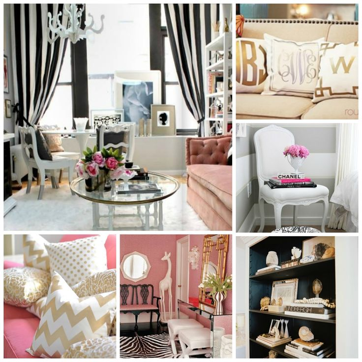 love the black white pink and gold theme so classic and girly - Pink Black And White Room Ideas