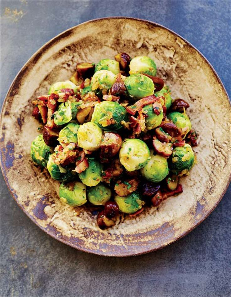 Brussels sprouts with chestnuts and bacon recipe from Nathan Outlaw's Home Kitchen by Nathan Outlaw   Cooked