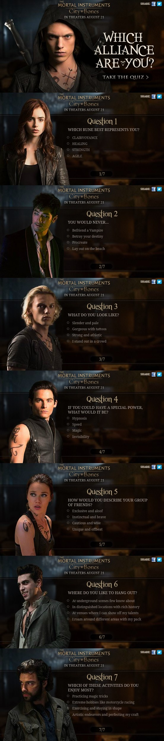 New interactive Alliance Quiz from Sony Pictures with some new character shots for The Mortal Instruments: City of Bones (click on the picture to take the quiz) P.s. simple quest for everyone) Why did Bill die?