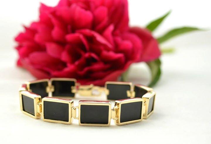 Beautiful gold bracelet with onyks / piękna złota bransoleta robiona na życzenie klienta