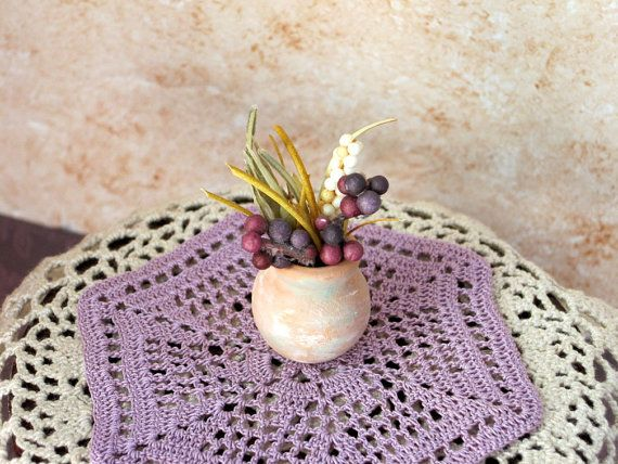 Miniature dollhouse crochet doily and dried flower arrangement by PugcentricPursuits at Etsy.