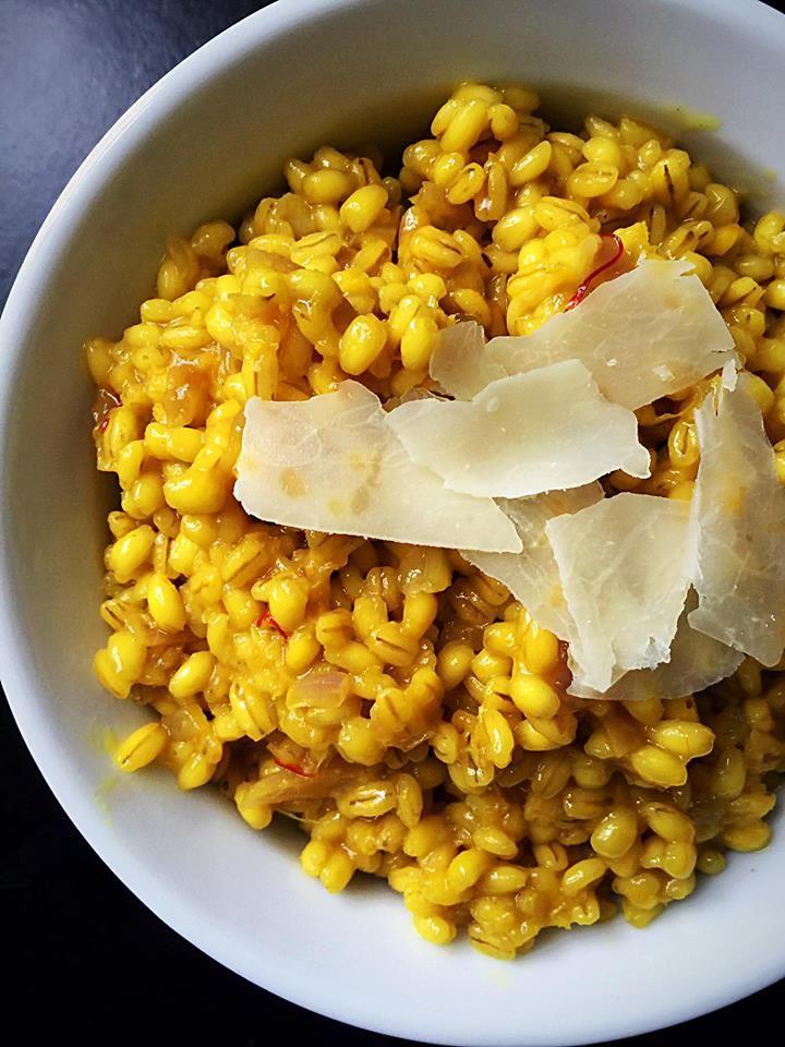 Lemon Saffron Barley Risotto {Vegan Option} | Whisk and Shout