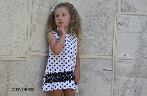YmamaY Daisy Dress White/Black Spot 12-18M