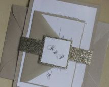 Metallic Sand and Champagne Glitter Wedding Invitation Suite - custom belly band, reply card, and envelopes all included!