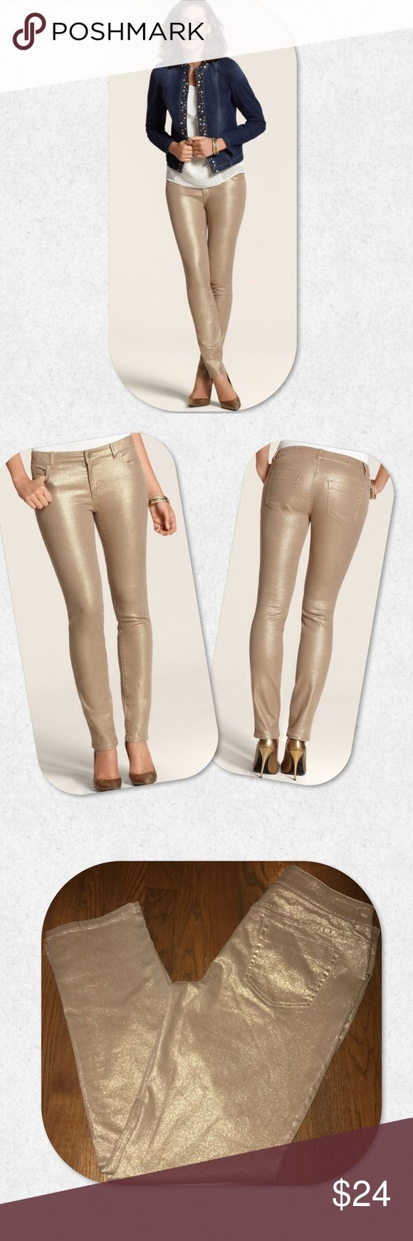 "Chicos Platinum Metallic Jeans Chicos Size 1. All measurements are approximate & lay flat- Waist: 18""; Hip: 18""; Outseam: 34""; Inseam: 28""; Leg opening: 7 3/4""; Rise: 10"". NWT.    Sits just below the waist, for a modern fit with maximum comfort.  Crafted with a hint of stretch for a smooth fit.   98% cotton, 2% spandex.  Machine wash. Chico's Jeans"