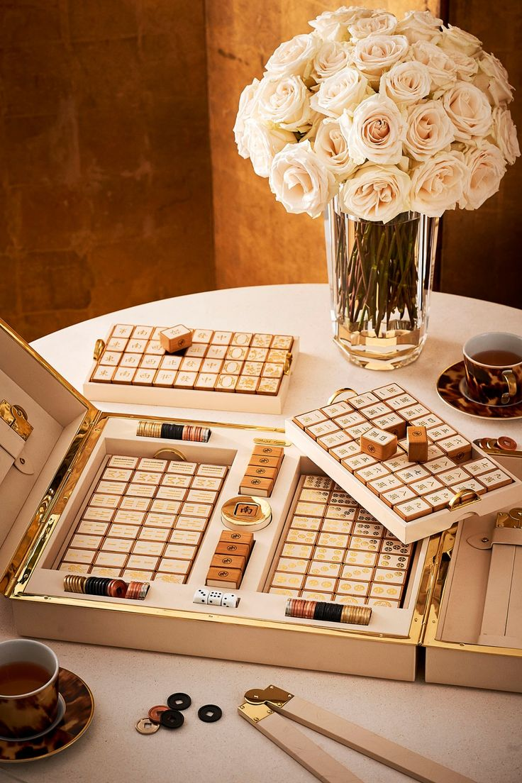 Perfect to celebrate Lunar New Year, the new #RLHome Joanna Mahjong set was custom-created to highlight the beauty and history of the game. The design for each playing piece was printed onto leather with gold foil and set into cherry wood, all housed in an elegant cream leather box, trimmed in brass.