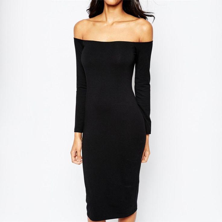 Fashion Women Off-shoulder Dress Long Sleeve Party Dresses New
