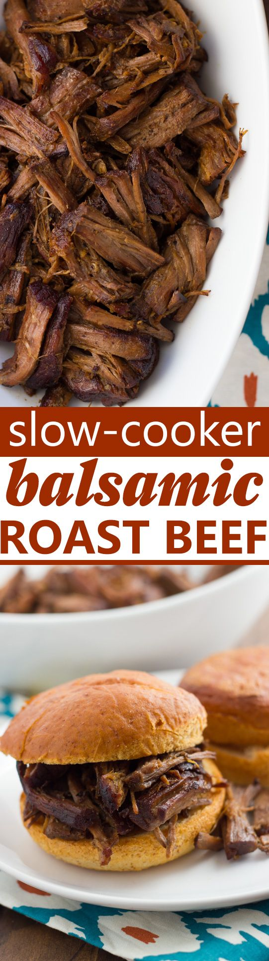 Slow-Cooker Balsamic Roast Beef! Amazingly tender, savory roast beef easily made in the slow-cooker with just 10 min prep. Delicious as pot roast or as a French-dip type sandwich! (Gluten-Free)