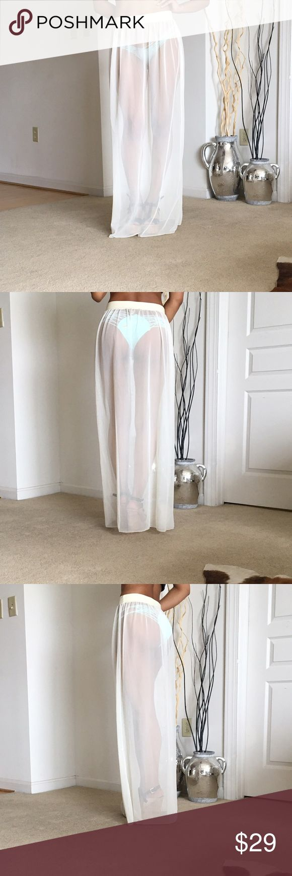 "Sheer ivory swimsuit coverup Sheer bikini cover up skirt. Stretchy waistband will fit most sizes. Could also be worn as a bandeau dress. I'm 5'5"" wearing a 4.5"" wedge. New and never worn. Purchased from a boutique in Florida. Skirts Maxi"