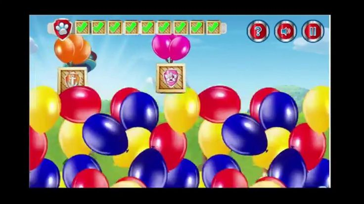 Pups and ballons. Paw patrol video game